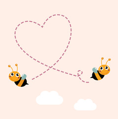 Flying bees making big love heart in the air