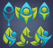 vector collection of ecological people on dark background.Stock