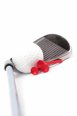 golf  club and  tees with ball on white background