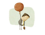 businessman ascend with a Red Balloon
