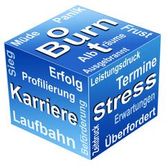 Würfel mit Ursachen für Diagnose Burnout
