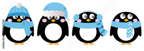 Cute penguin set isolated on white ( blue ) - 49642794