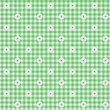 Green Gingham Fabric with Flowers Background