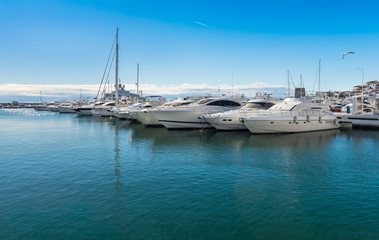 Super yachts moorered at Puerto Banus, Coats Del Sol, Spain