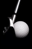 golf  club  with ball on white background