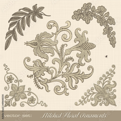 stitched floral ornaments