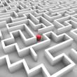 3D-Grafik: Labyrinth mit roter Kugel