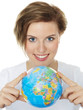 Woman shows the communication World, Global Commerce