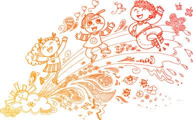 Sketchy doodles of 3 kids having fun on a rainbow.