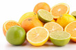 heap of orange, green and yellow lemon
