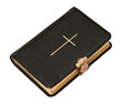 old black bible book with golden cross on white