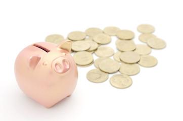 豚の貯金箱 銅 500円