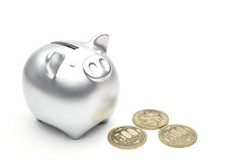 豚の貯金箱 銀 500円