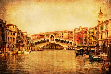 nostalgisch texturierte Ansicht der Rialto-Brücke in Venedig