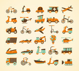 retro transport icons set