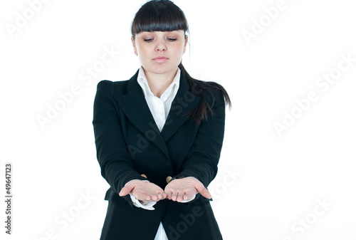 businesswoman's hands are holding something