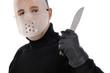 Krimineller mit Hockey-Maske und Messer