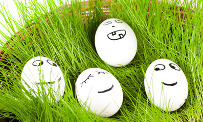 group of  Funny crazy  smiling  eggs in  basket with grass