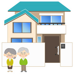 老夫婦と家