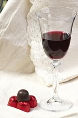 Chocolate pralines and red wine dessert