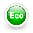eco green circle glossy web icon on white background