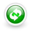rotate green circle glossy web icon on white background