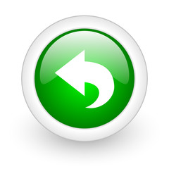 back green circle glossy web icon on white background