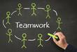 Teamwork Konzept auf Kreidetafel