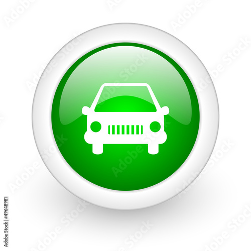 car green circle glossy web icon on white background