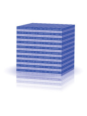 blue cube with binary code vector illustration