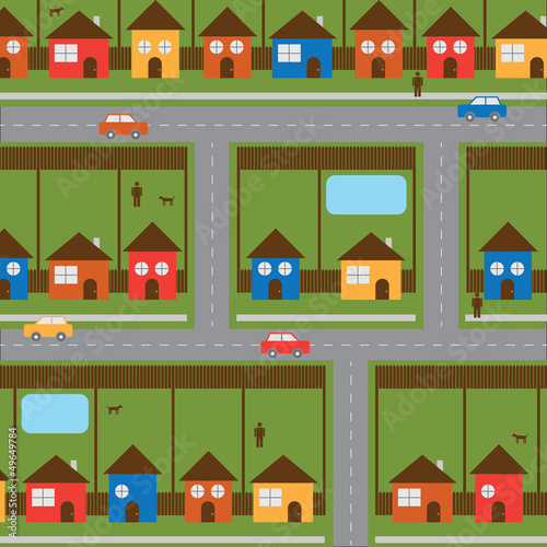 Colorful Happy City Neighborhood Vector Illustration