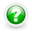 question mark green circle glossy web icon on white background
