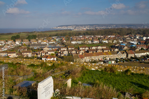 View of Uphill and weston-super-mare from church on hill