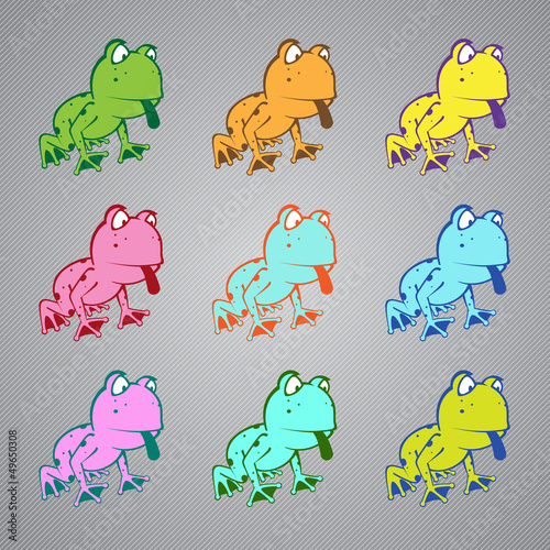 Frog MultiColored Toad Vector Illustration Logo