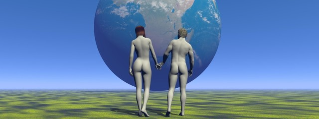 a man and a woman and earth