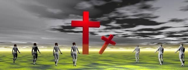 cross red and men and women