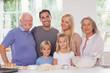 Extended family baking portrait