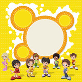 Fototapety Colorful template with a group of cute happy cartoon kids