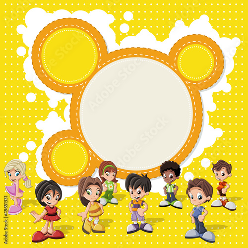 Colorful template with a group of cute happy cartoon kids
