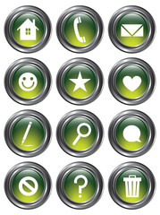 Green Metallic Action Buttons