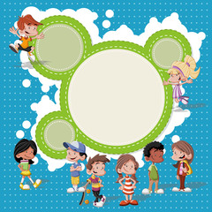 group of cute happy cartoon kids playing