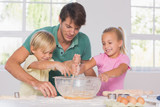 Children mixing the dough