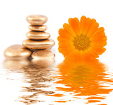 Fototapety Golden spa stone and calendula flowers