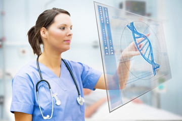 Nurse touching screen displaying blue DNA helix