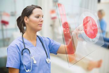 Nurse touching screen showing red ECG data