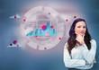 Businesswoman against a futuristic graph hologram