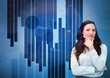 Businesswoman looking away against a digital background
