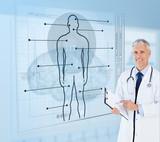 Senior doctor holding a clipboard beside futuristic screens