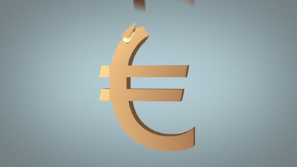 euro sign reconstruction concept over grey