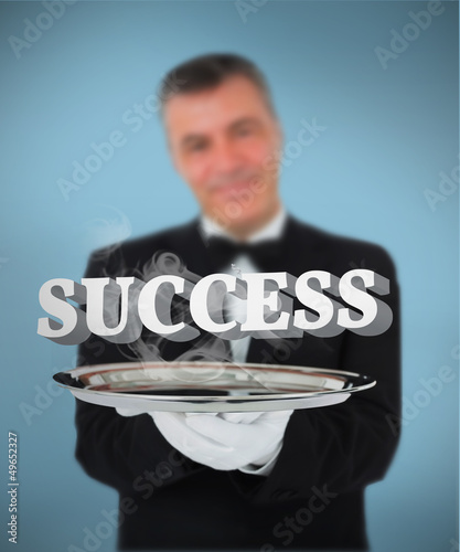 Waiter offering smoking success on tray